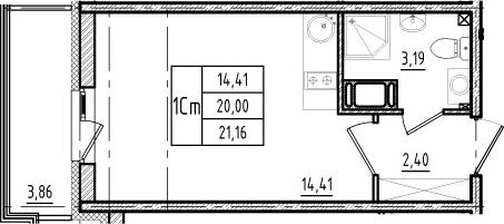 Студия, 20 м²