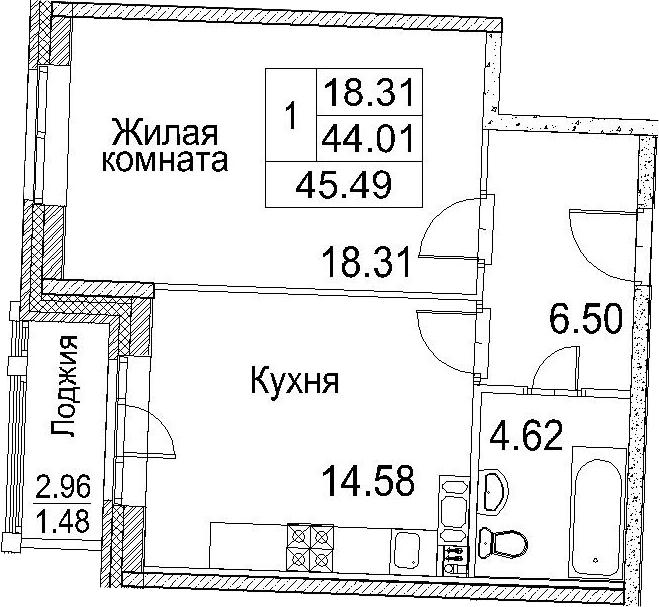 1-к.кв, 45.49 м²