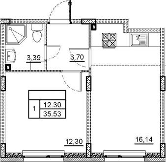 2Е-к.кв, 35.53 м², 1 этаж