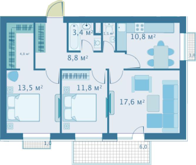3-комнатная, 71 м²– 2