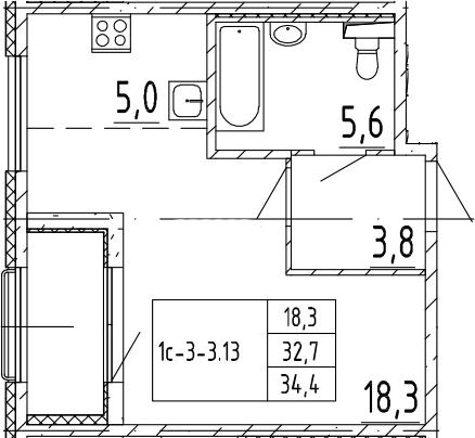 Студия, 34.4 м², 2 этаж