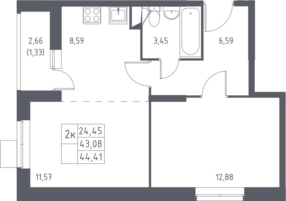 2-к.кв, 45.74 м²