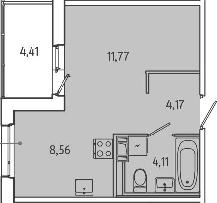 Студия, 30.82 м², 7 этаж