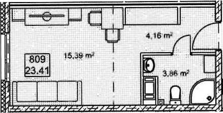 Студия, 23.41 м², 8 этаж
