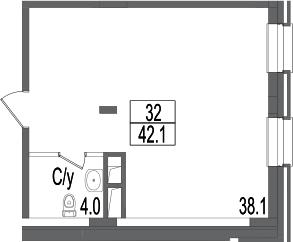 Своб. план., 42.1 м²