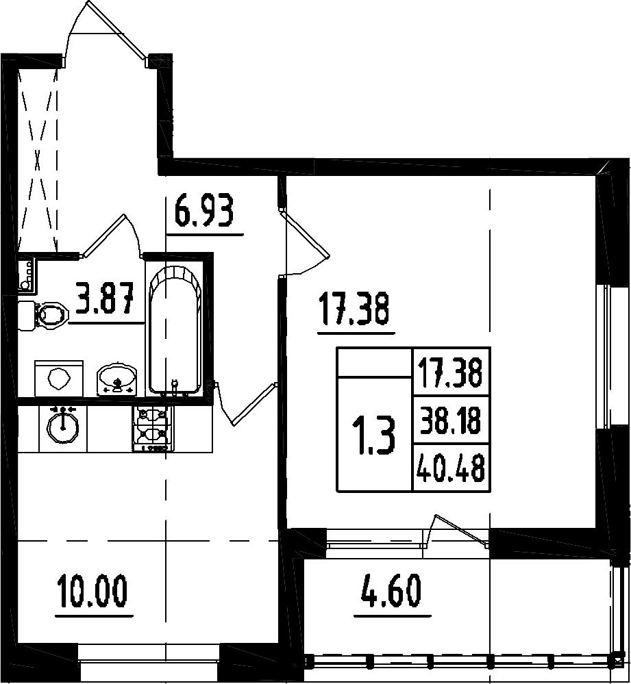 1-к.кв, 42.78 м²