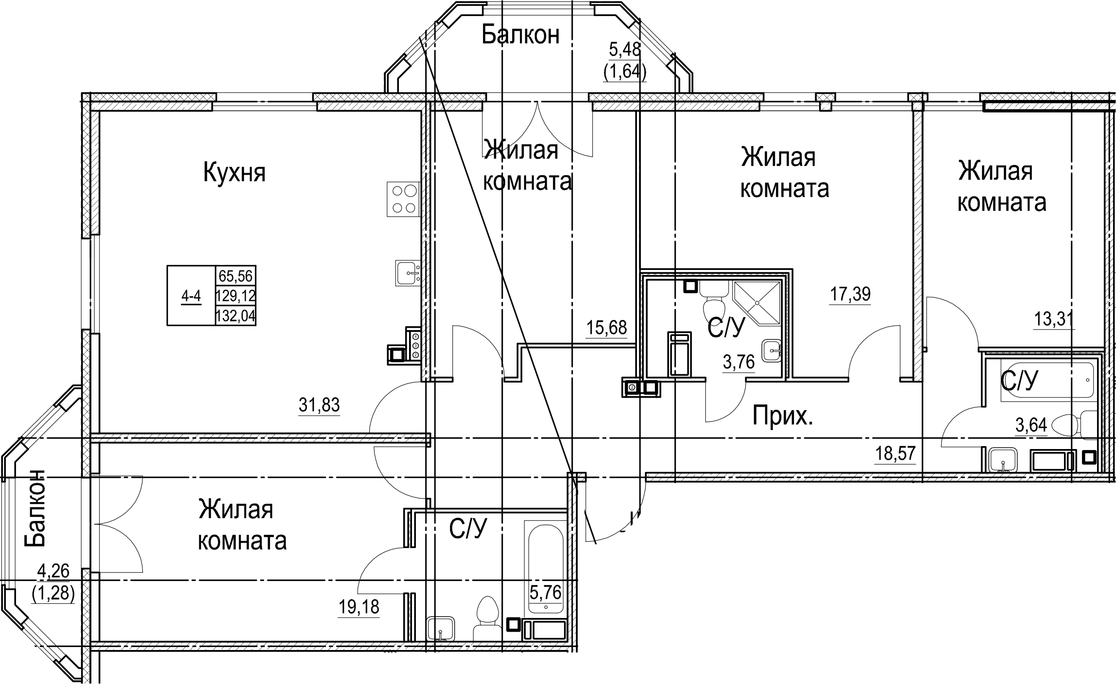 5Е-комнатная, 132.04 м²– 2