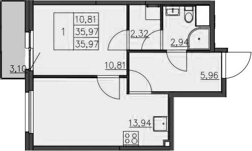 1-к.кв, 39.36 м²