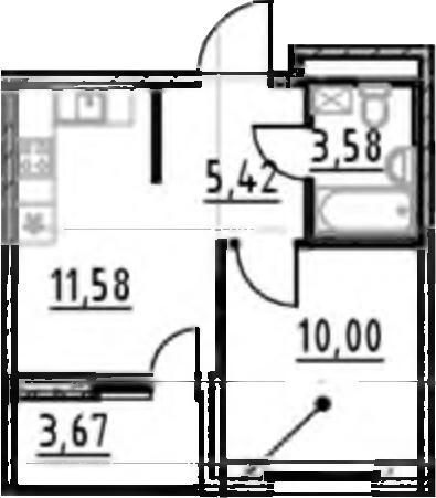 1-к.кв, 30.58 м², 17 этаж