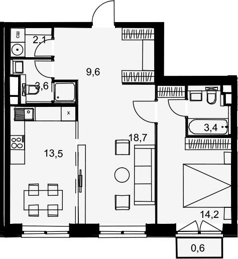 2-комнатная, 65.7 м²– 2