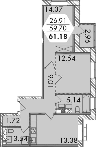 3-к.кв (евро), 62.66 м²