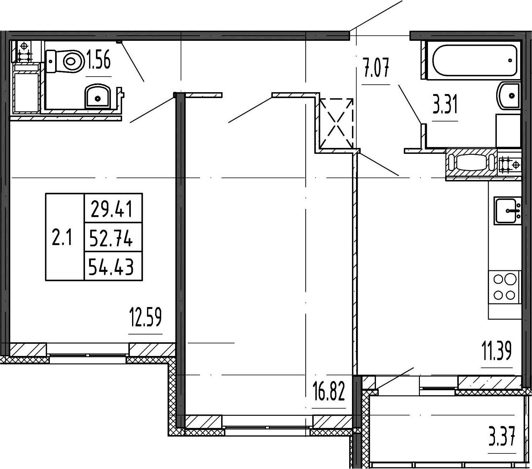 3-к.кв (евро), 56.11 м²