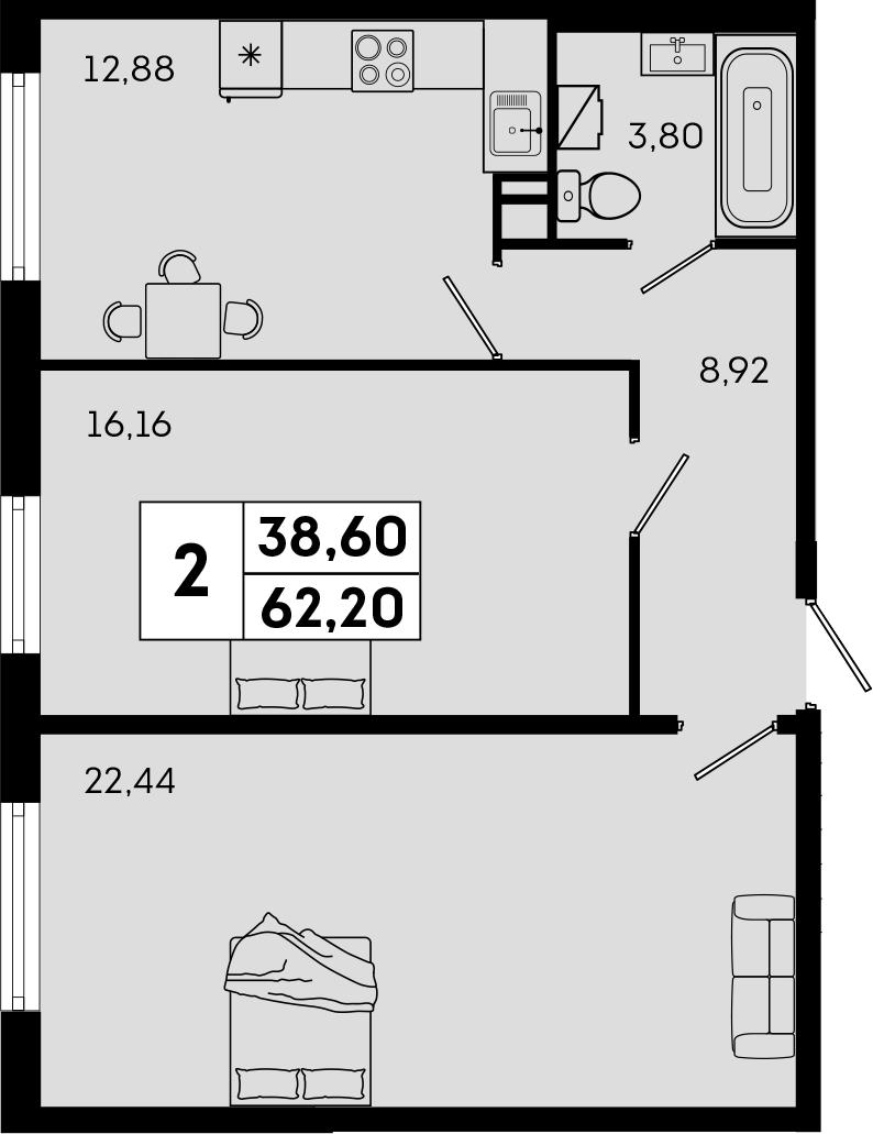 2-комнатная, 62.2 м²– 2