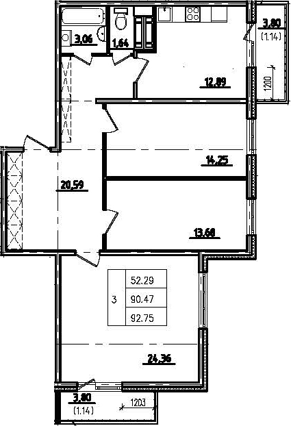 3-к.кв, 98.07 м²