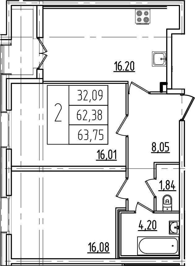 3Е-к.кв, 63.75 м²