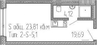 Студия, 23.81 м², 16 этаж