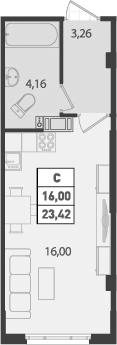 Студия, 23.42 м²