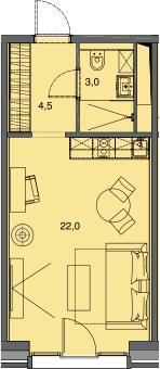 Студия, 29.5 м²– 2