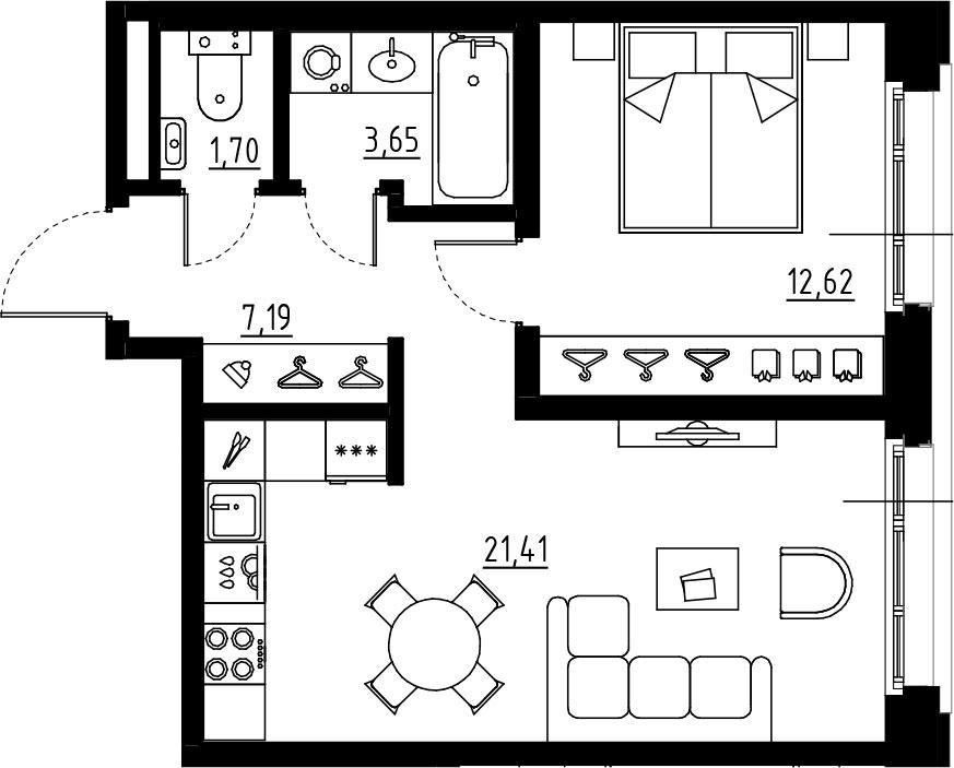2Е-комнатная, 46.57 м²– 2