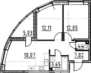 3Е-комнатная квартира, 55.14 м², 3 этаж – Планировка