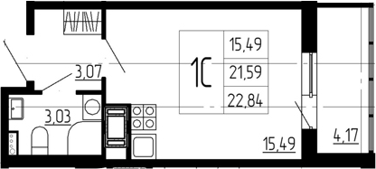 Студия, 21.59 м²
