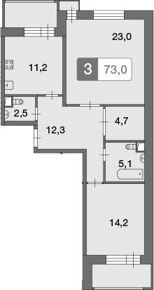2-к.кв, 73 м²