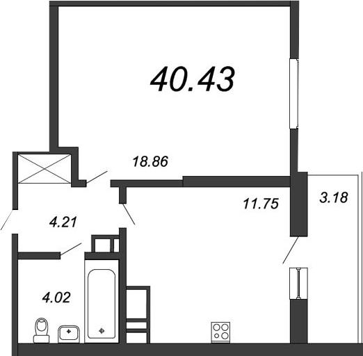1-к.кв, 42.66 м²