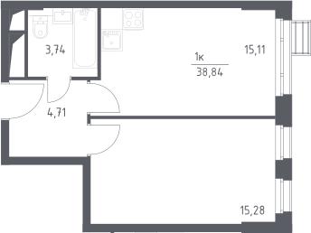 2Е-комнатная, 38.84 м²– 2