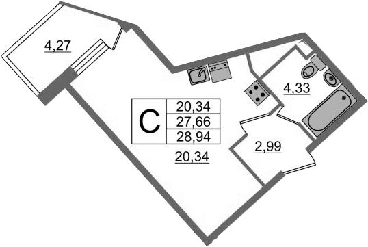 Студия, 31.93 м²