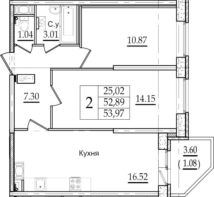 3Е-к.кв, 53.97 м²