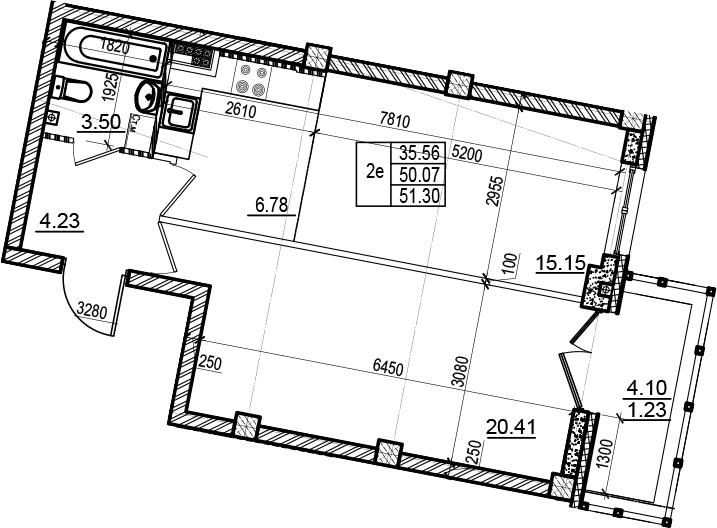 2Е-комнатная, 51.3 м²– 2
