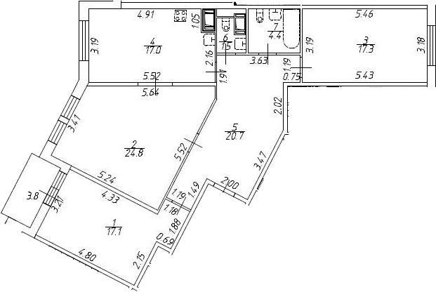 3-к.кв, 106.6 м²