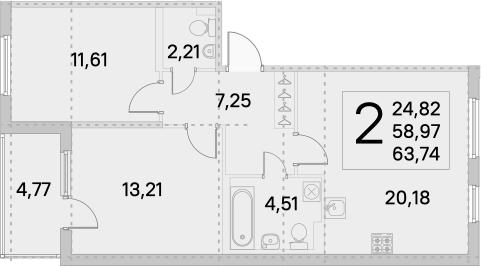 3Е-комнатная, 61.35 м²– 2