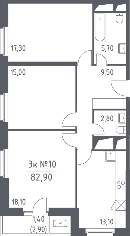 3-комнатная, 82.9 м²– 2