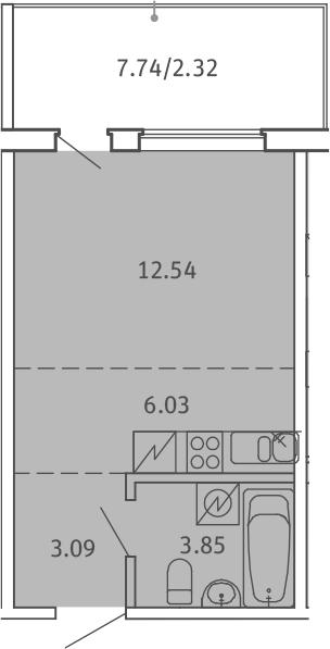 Студия, 27.83 м², от 2 этажа