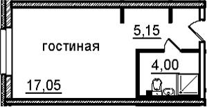 Студия, 26.2 м²– 2
