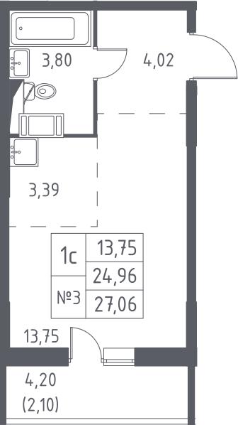 Студия, 27.06 м², 6 этаж – Планировка
