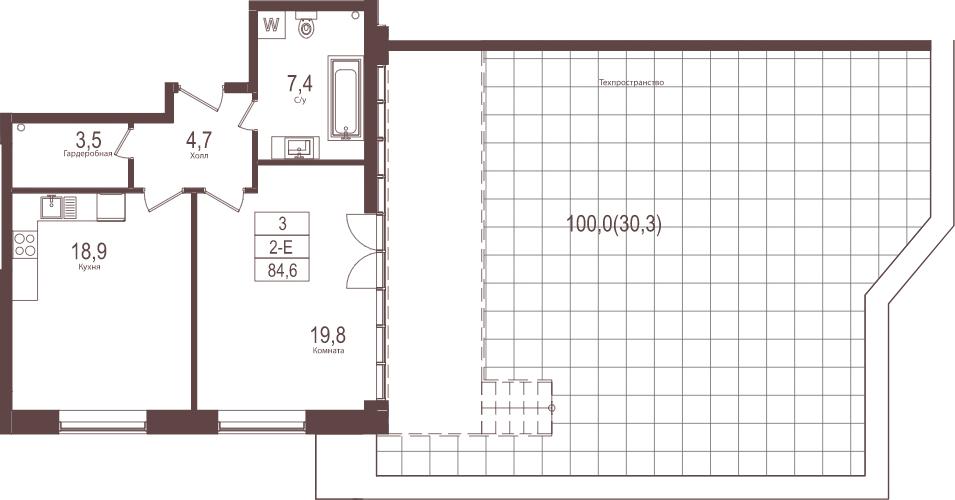 2Е-комнатная, 84.6 м²– 2