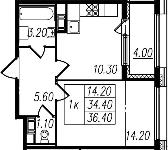 1-комнатная квартира, 34.4 м², 2 этаж – Планировка