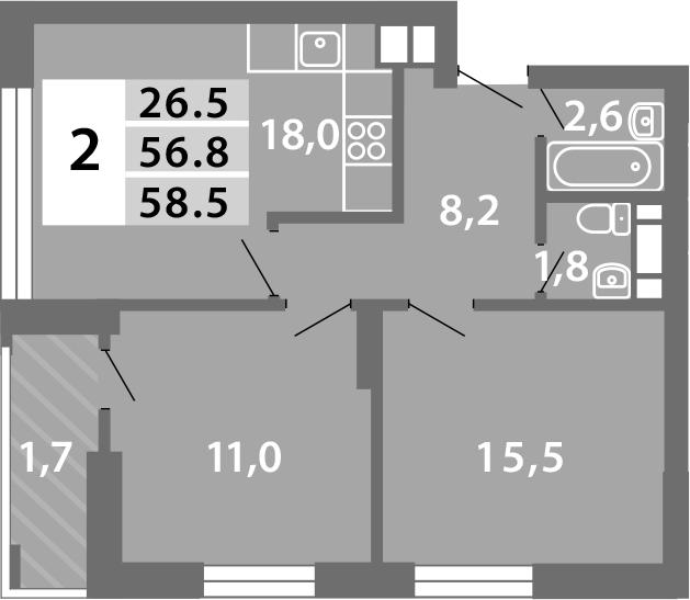 3-к.кв (евро), 60.77 м²