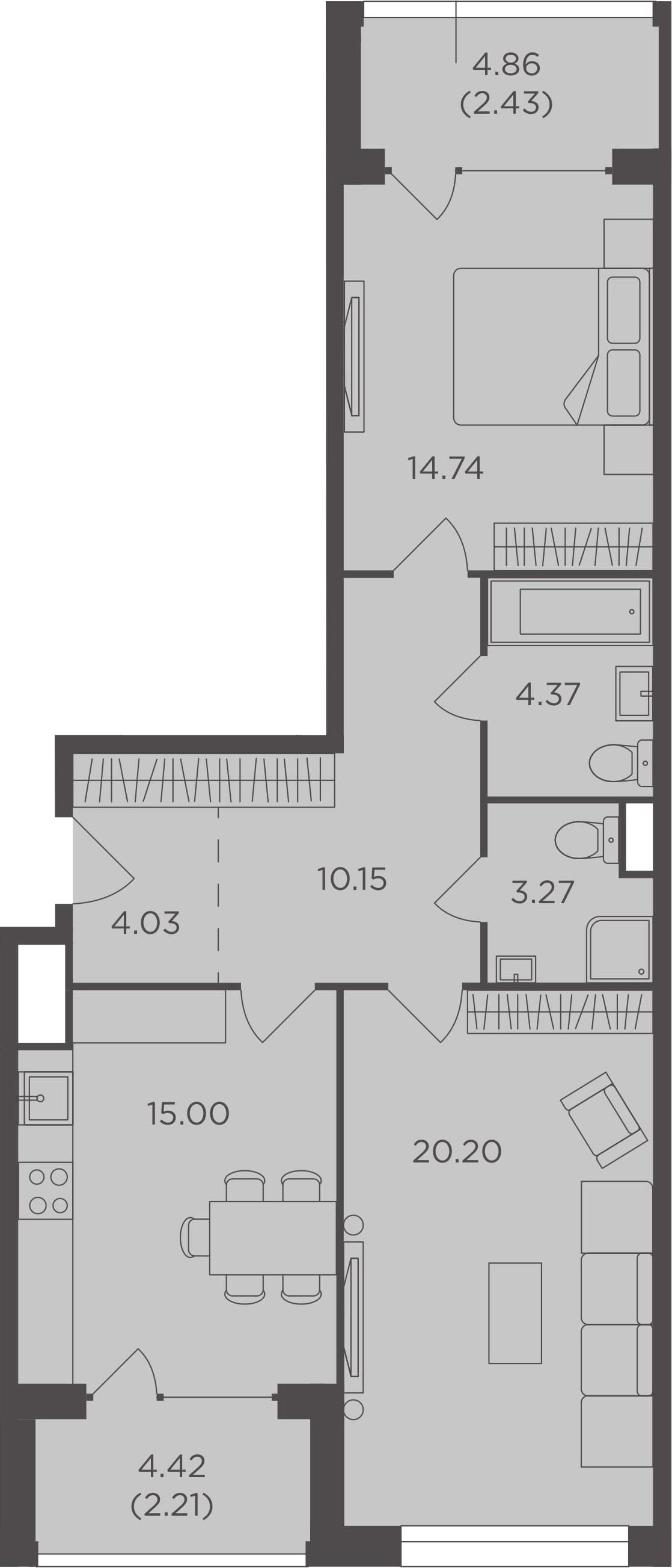 2-комнатная, 76.4 м²– 2