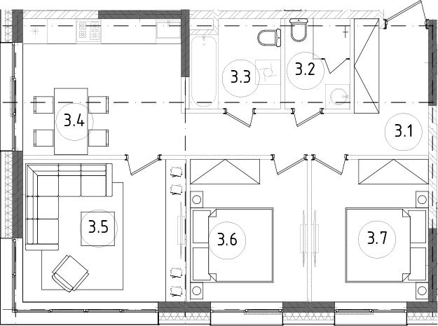 3-комнатная, 63.65 м²– 2