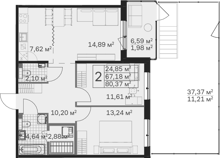 3Е-к.кв, 80.37 м², 1 этаж