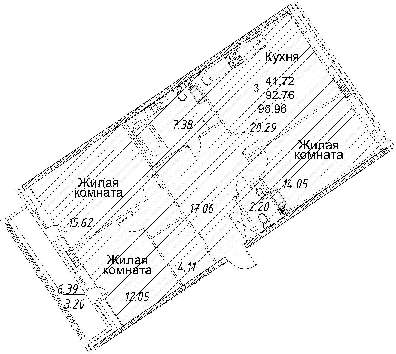 3-к.кв, 99.16 м²