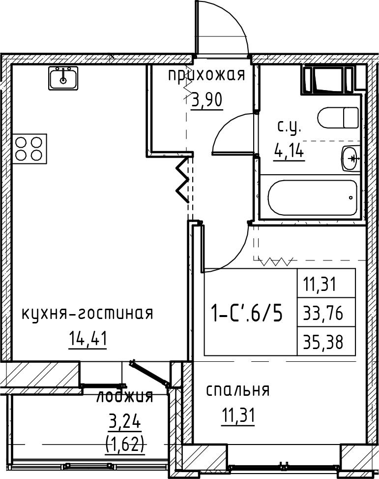 2Е-комнатная, 35.38 м²– 2