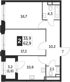 2-к.кв, 62.9 м², 25 этаж