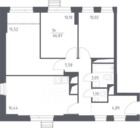 4Е-к.кв, 66.87 м², 17 этаж
