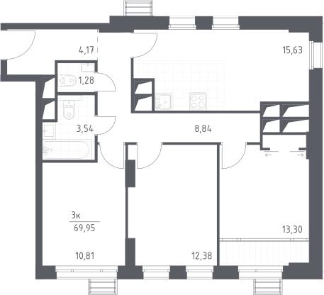 4Е-к.кв, 69.95 м², 26 этаж