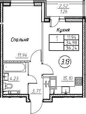 2Е-к.кв, 36.24 м²
