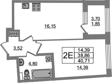 2Е-комнатная, 38.86 м²– 2